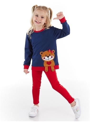 Denokids Kolları Sarkan Ayıcık Sweatshirt+Tayt Takım Renkli